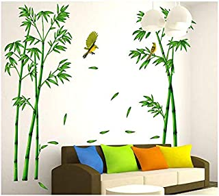 Green Bamboo And Birds Removable Wall Paper For Home Decor, Waterproof Wallpaper For Living Room Baby Kids Girls Bedroom D...