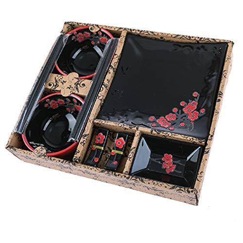 SERVICIO COMPLETO JAPONAIS NEGRO - Diseño de flores de cerezo