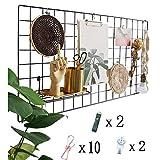 Actualice el estante de la rejilla de la pared, la rejilla de hierro DIY de la foto, la decoración de la pared, el pizarrón, la foto en el tablero de notas que cuelga en la familia(40 * 80 cm) Negro