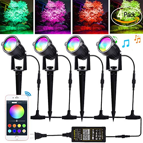 Autai Led Landscape Lighting 12W RGB Color Changing Bluetooth App Controlled 24V low voltage landscape lights With Transformer,IP66 Waterproof Outdoor Spotlights for Trees/Pathway/Garden Lights(4Pack)
