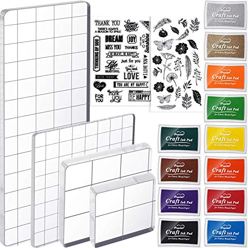 18 Pieces Acrylic Stamp Blocks Set Include 12 Craft Ink Pads Stamp Ink Pads, 4 Acrylic Stamp Blocks Clear Stamping Blocks 2 Rubber Clear Stamp Seal for Scrapbooking Card Making (Flower Set)