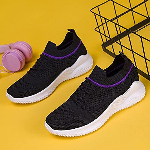 Aerlan Treaded Sole Trainers,Zapatos de Mujer Zapatos Deportivos Casuales Correr Senderismo Senderismo Zapatos-Negro_35,Calzado de Fitness para Trail Running