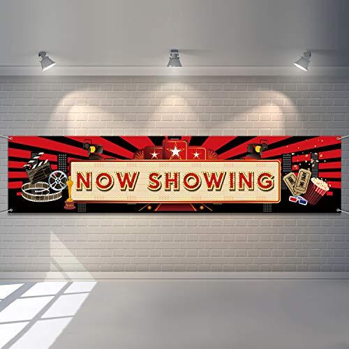 Now Showing Banner Film Nacht Party Rot Teppich Hintergrund Hollywood Party Dekorationen Film Hintergrund Geburtstag Party Banner Baby Dusche Geburtstag Party Lieferungen