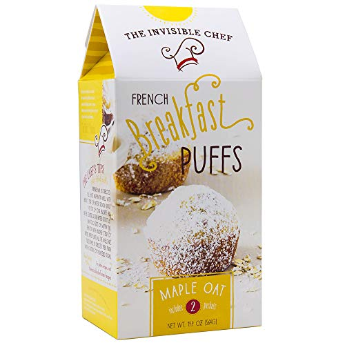 The Invisible Chef French Breakfast Puffs Muffin Mix 19.9 Oz! Maple Oats Flavored Puffs! Tasty & Easy Homemade Puff Pastry! Choose Your Flavor! (Maple Oats)