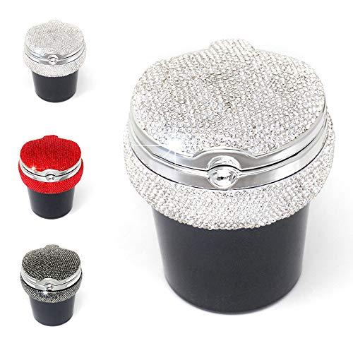 Kitchen-dream Auto Aschenbecher, Tragbarer Auto-Aschenbecher mit Deckel und LED-Licht, Aschenbecher mit glänzenden Diamanten, abnehmbarer Zigarettenaschenbecher für das Büro zu Hause