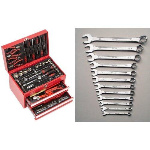 Mannesmann - M29066 - Caja de herramientas equipada con 155 piezas + M 130-12DIN - Juego de llaves combinadas de boca y estrella, 12 piezas, 6-22 mm, CV, GS