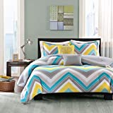 5 Piece Full Queen Zig Zag Chevron Comforter Set for Teenage Girls or Adults, Turquoise Yellow Gray Blue White Aqua Grey Chic Bright Vibrant Colorful Design, Medallion Decorative Pillows