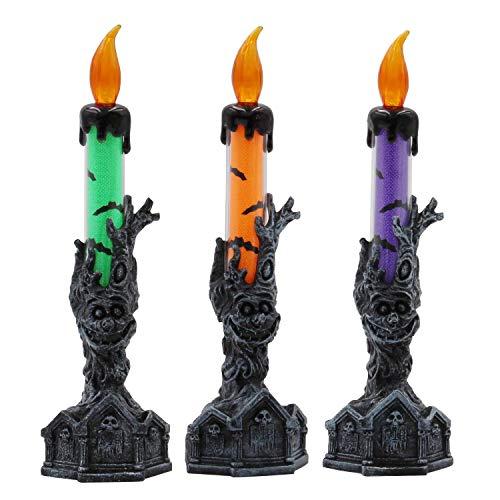 Halloween Kerze Licht/Knopfzelle - 3 Pack/RIP Grabstein Und Baum Monster Base/Home Kamin Tischdekoration