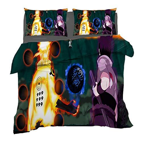 XKNSYMRL Funda Nordica 220X240, Naruto Impresión Digital 3D Funda Nordica 105 Algodon, Premium Poliéster Microfibra Conjuntos De Ropa De Cama con Cremallera Oculta, para Niños Muchachos (150X200Cm)