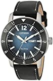 Citizen Men's Brycen Stainless Steel Quartz Watch with Leather Calfskin Strap, Black, 22 (Model: AW0078-08L)