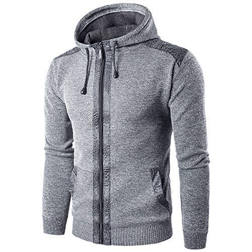 Chaqueta de Punto con Capucha y cordón para Hombre Costura Bolsillos Dobles cálidos Abrigo de suéter Informal Americana 3X-Large