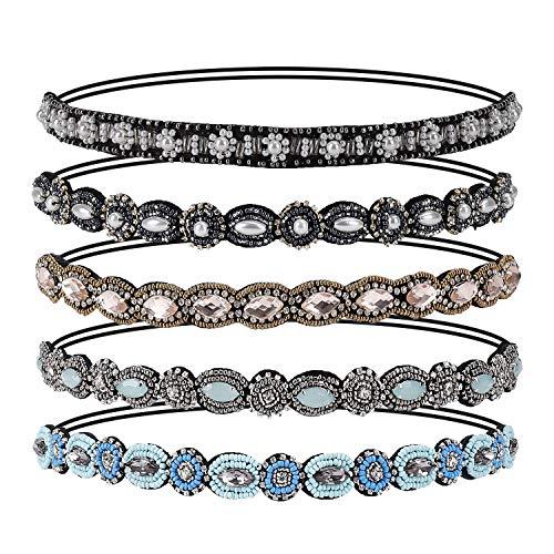 Bandas para la Cabeza Elásticas Bohemia Diadema Cristal Diamante de Imitación Bandas para el Pelo Accesorios para el Cabello de la Boda para Mujer 5 Pcs