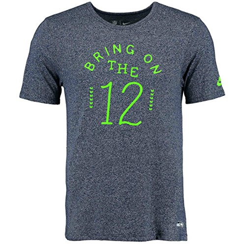 Seattle Seahawks Men's X-Large XL Shirt Bring ON The 12 - Navy & Lime Green