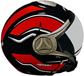 MAVOX OX10D2P 580 Open Face Helmet (Black and Red, 580 mm)