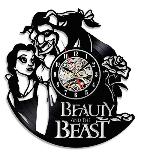 Disco de Vinilo Reloj de Pared Cambio de Color decoración del hogar Regalo LED,Bestia y Bella
