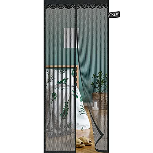 Magnetic Screen Door of Fiberglass Mesh Curtain,Elctman 35' x 82' Heavy Duty Bug Mesh Curtain and Full Frame Magic Tape, Mesh Fly Curtain Keep Fresh Air in & Bugs Out(90x210cm)