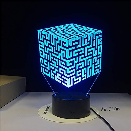 Labyrinth 3D Tischlampe Kinder Spielzeug Geschenk Fernbedienung Bunte LED 3D Tischlampe Kinder Spielzeug Geschenk Led 3D Tischlampe Kinder Spielzeug Geschenk s XW-Night Light3106