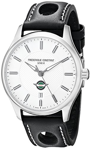 Frederique Constant Men's FC303HS5B6 Healey Analog Swiss Automatic Black Perforated Leather Watch