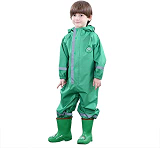 D C.Supernice Kids All in One Waterproof Suit Toddler Boys Girls Cute Dinosaur Raccoon Cat Shape Puddle Rainsuit