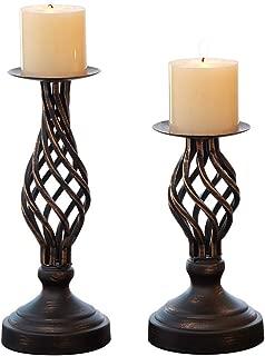ZZKOKO Decorative Candle Holder Set of 2, Metal Pillar Romantic Candlesticks, Home Decor Candle Stand, 11.1