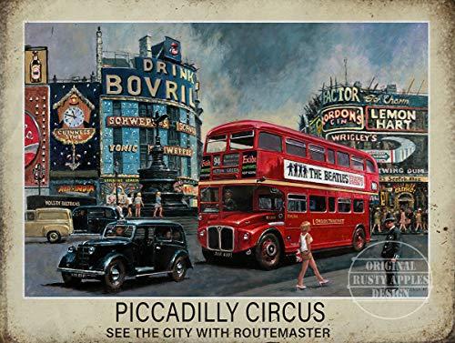Sp567encer Zie Londen op een Routemaster bus Vintage Style metalen bord Mancave Home Decor L.