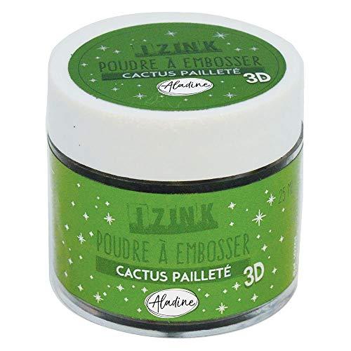 Aladine - Poudre à Embosser Izink Cactus Glitter - Embossing avec Paillettes - Effet Volume 3D pour Scrapbooking et Carterie Créative - Scrap en Relief Couleur Vert Pailleté - Pot de 25 ml