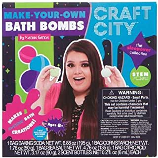 Craft City Karina Garcia DIY Make Your Own Bath Bomb Kit | Makes 3 All-Natural Bath Bombs | Sleepover Collection | Sphere & Teddy Bear Bath Bomb Molds | Lavender & Jasmine Scents | Multi-Colored