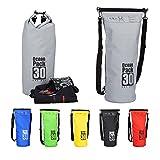 Relaxdays Ocean Pack 30 L, wasserabweisender Dry Bag f. Wertsachen, leichter Trockensack f. Outdoor Sport, dunkelgrau