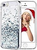 wlooo Funda para iPhone SE, Glitter liquida Cristal Silicona Lujo 3D Bling Flowing Transparente Cover Protector Suave TPU Bumper Case Brillante Arena movediza Carcasa para iPhone SE/5/5S (Plata)
