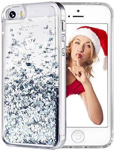 WLOOO iPhone SE Cover, iPhone 5/5S/SE Custodia, Glitter Case Luxury Moda 3D Bling fluente Liquido Floating Sparkle Luccichio Cute Cover Protettivo TPU Bumper Case per Apple iPhone 5/5S/SE (Argento)
