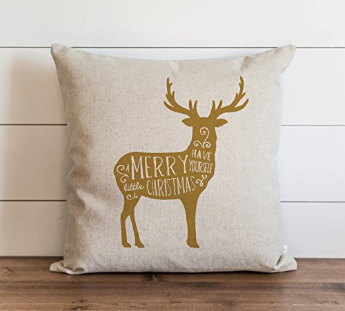 Deer_Have Yourself A Merry Little Christmas_Gold - Federa per cuscino, 18 x 18 cm, colore: Oro