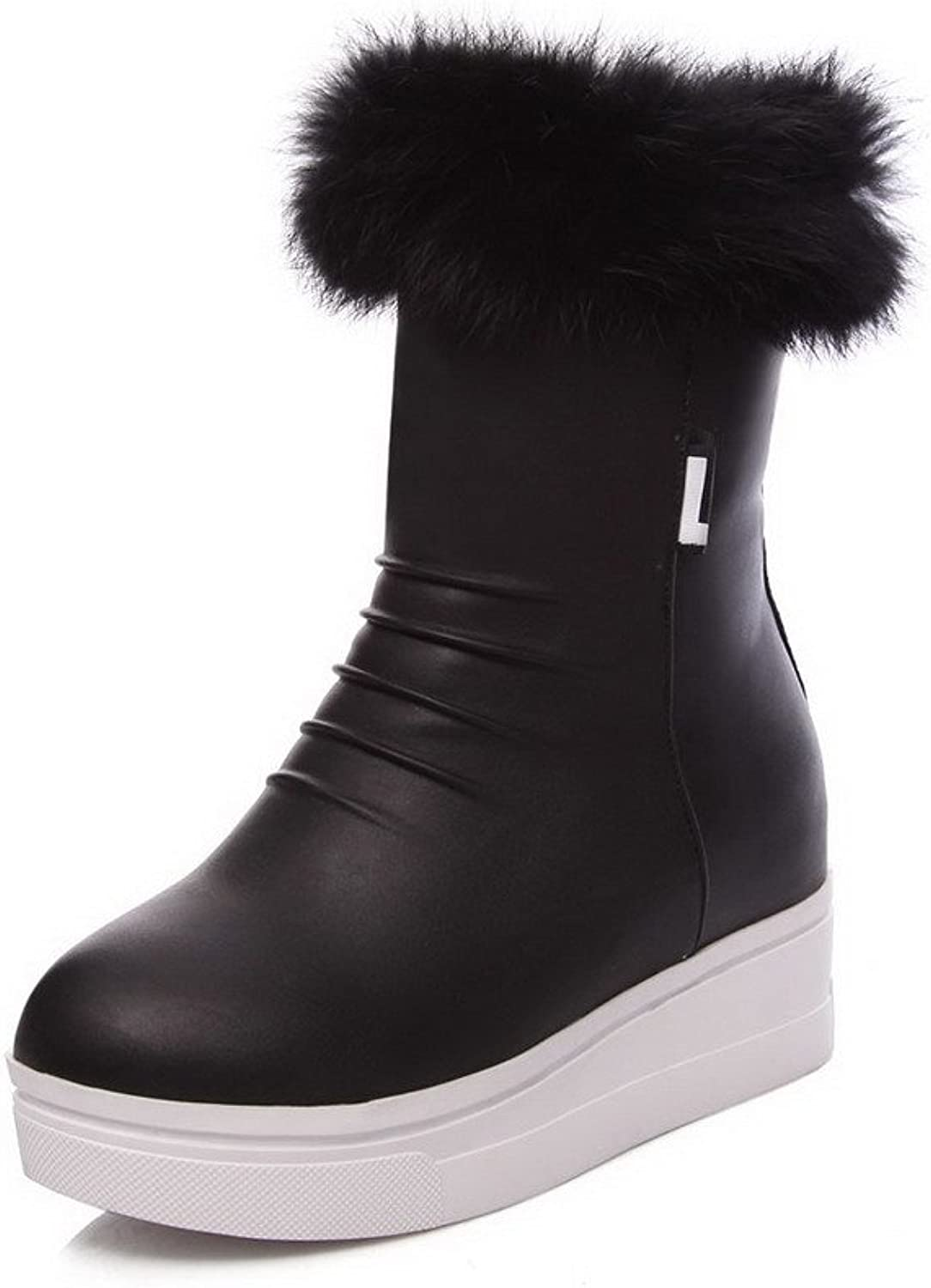 WeiPoot Women's Soft Material Zipper Round Closed Toe High-Heels Low-top Boots