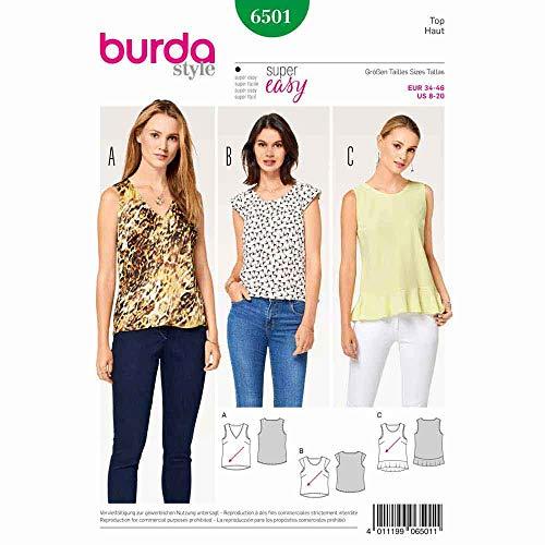 Burda 6501 Schnittmuster Top mit V-Ausschnitt und Saumvolant (Damen, Gr. 34-46) Level 2 leicht
