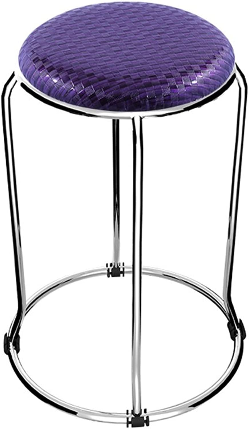 Fashion Stainless Steel Small Round Stool Soft Leather Chair Table High Stool (Purple D37cmH47cm)