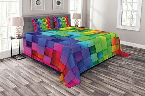 ABAKUHAUS Bunt Tagesdecke Set, Rainbow Color, Set mit Kissenbezügen Maschienenwaschbar, für Doppelbetten 220 x 220 cm, Multicolor