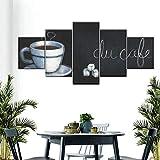 QWRTU Cuadro En Lienzo 5 Pieza Pizarra Menú Cafe Cuadros Modernos Impresión de Imagen Artística Lienzo Decorativo para Tu Salón o Dormitorio Cuadro En Lienzo 5 Pieza 150x80cm