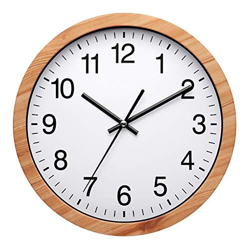Nuovo - Reloj de pared moderno de 25,4 cm, silencioso, sin tictac, para sala de estar, dormitorio, cocina u oficina, color oro rosa, negro o veta de madera