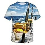 Camiseta Masculina Estampa em 3D em Volta do pescoço Casual Streetwear Manga Curta Tops Tees Roupa de casal Presente,Pescar no Oceano,XXL