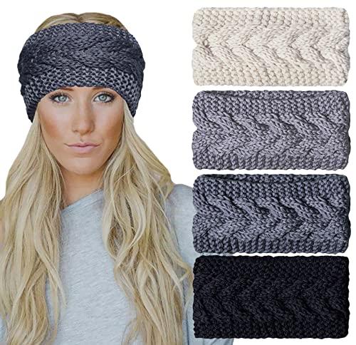 Chalier 4 Pcs Warm Winter Headbands for Women Cable Crochet Turban Ear...