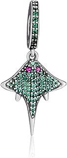 CKK Devil Rays Beads Fits Pandora Bracelet Pendant Necklace 925 Sterling Silver Oceanic Mobula Dangle Charm Bracelets Gift for Women Mom,Green Crystal