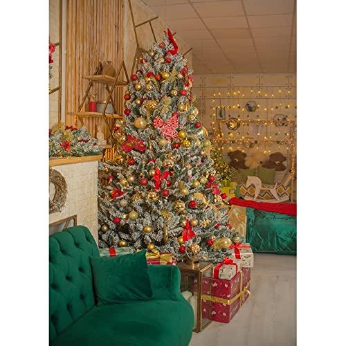 Fondo de fotografía de árbol de Navidad de Chimenea de Vinilo Banner Fondo de bebé para niños Accesorios de Tiro de Estudio A22 9x6ft / 2.7x1.8m