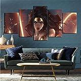 mmkow Canvas Print Image 5 Piece Set Comic Wonder Woman Living Room Bedroom Home Decoration Renovation 80x150cm (Framed)