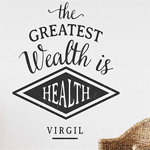Der größte Reichtum ist das belebende Zitat aus dem Wandtattoo für gesundes Virgilblau 33cm X33cm