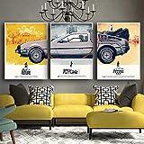 Ritorno al Futuro Car Poster Wall Art Quadri su Tela Stampa su Poster Stampa Foto Decorazioni per la casa-50x70cmx3 Pezzi Senza Cornice