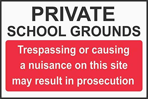 Label - Sécurité - Avertissement - Jardines de la escuela privada: traspasar o causar molestias en este sitio puede dar como resultado un cartel de procesamiento 30x20 cm - bureau, entreprise, école, hôtel