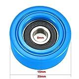 XIAOWU-LUN, 2pcs 10x40x10 / 10x32x10 / 8x30x20 / 6x30x20 / 8x35x15 / 6x35x14 Blanco/Claro/Negro/Azul Plana Polea rodamiento del Tambor de la Rueda (Size : 8x35x15mm Blue)