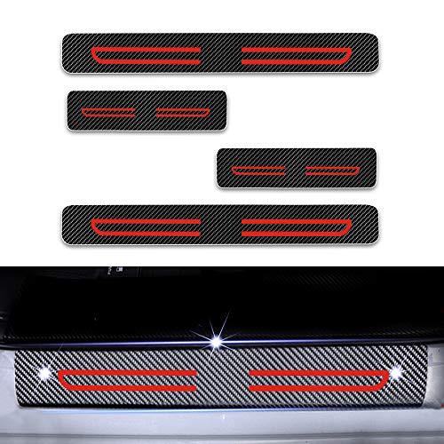 4D Carbon Einstiegsleisten Folie, Lackschutzfolie Selbstklebend, Lackschutz Aufkleber für Citigo Kodiaq Fabia Rapid Octavia Yeti Superb Rot 4 Stück