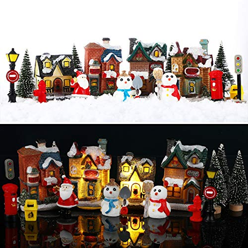 Skylety 16 Pieces Christmas Village Houses Set Decorations LED Lights Christmas Town Scene Desktop Ornaments Christmas Figurines Accessories Buildings Battery Operated Landscape Decor