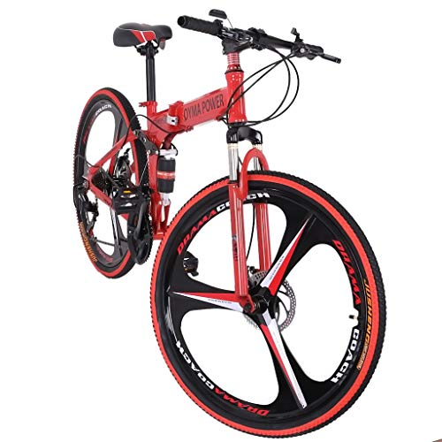 26in Folding Mountain Bike, Full Suspension Outroad Mountain Bikes with Disc Brakes, Shimanos 21 Speed Folding Bicycle Full Suspension MTB Bikes for Men/Women Adult Teens (Red)