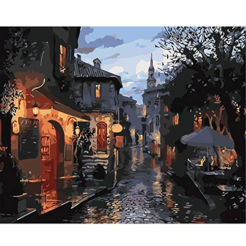 DIY paint by mumbers for adults beginners Paints for canvas painting hand-painted oil painting Retro town Christmas Gift Nursery Decor 40X50cm/unframed